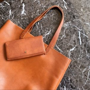Madewell Transport Lar Tote Brown Leather + Wallet